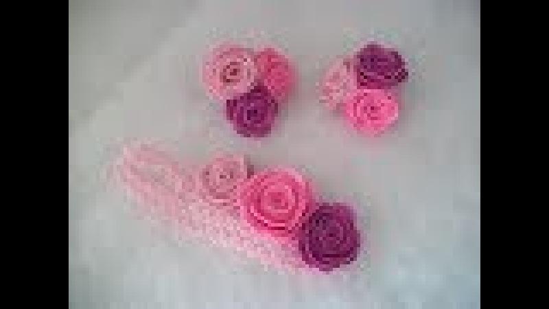 Детская повязка с розами из фетра