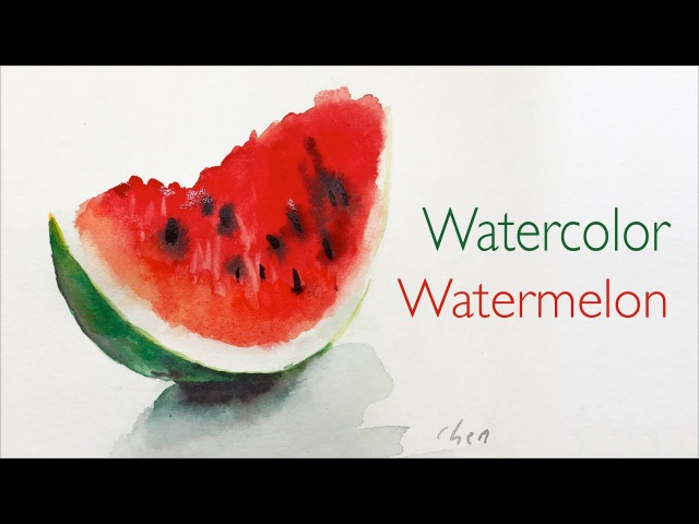 Watercolor painting of a slice of watermelon