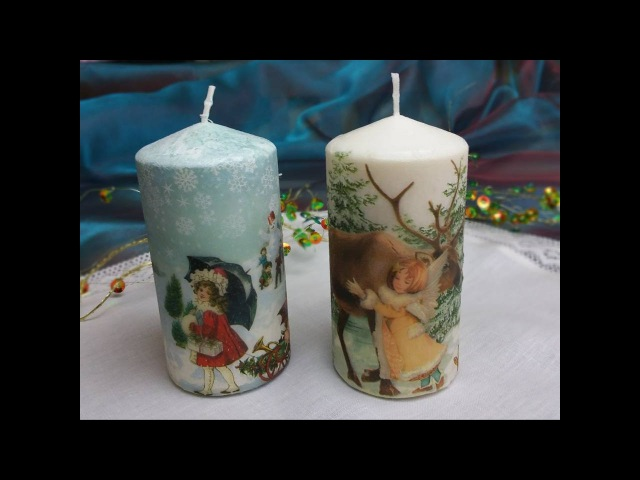 Candele decorate con trasferimento di immagine,Tutorial: Decorate candles with paper napkins