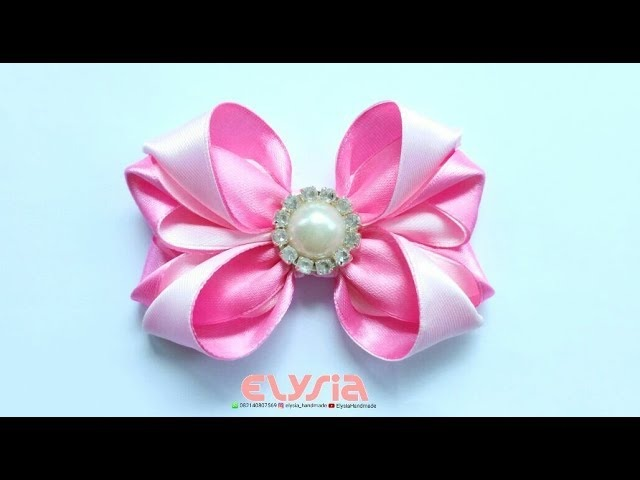 Ribbon Bow Ideas With Rhinestone | DIY by Elysia Handmade