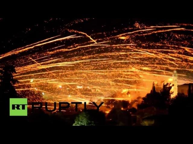 Opposing monasteries Easter fireworks battle-Greece