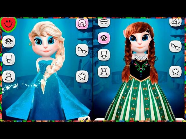 МОЙ ГОВОРЯЩИЙ ТОМ И ГОВОРЯЩАЯ АНДЖЕЛА Elsa and Anna TALKING ТОМ ANGELA игровой мультик про котиков