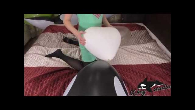 Inflatable whale and heart balloons by Anastasia