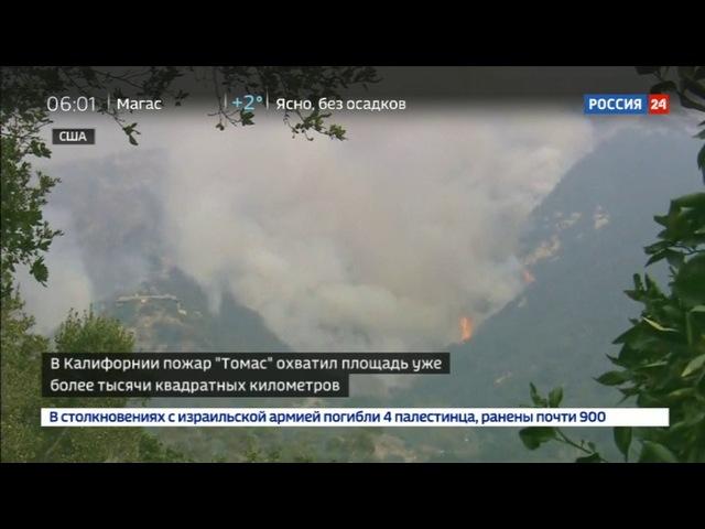 Новости на «Россия 24» • Площадь пожара Томас В Калифорнии составляет уже более тысячи квадратных километров