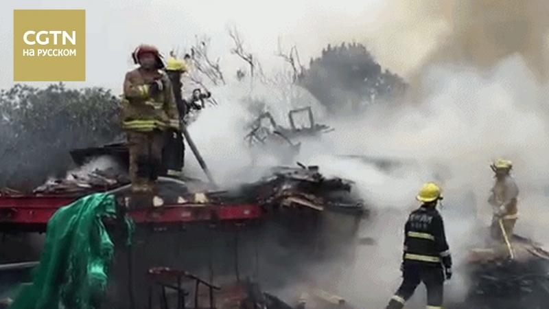 В Китае на трассе Шанхай-Куньмин загорелся грузовик