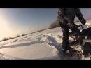 Разборный мини снегоход по мягкому, пухлому снегу.