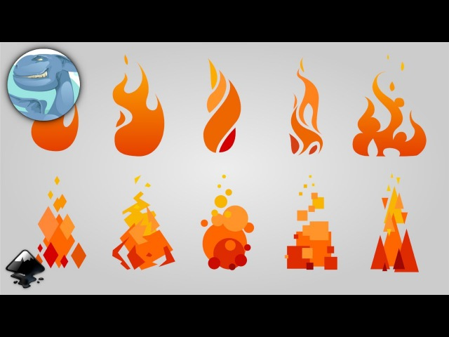 Set of simple fires. Speed art in Inkscape.