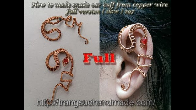 How to make snake ear cuff from copper wire - full version ( slow ) 297
