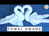 How to Fold A Towel Animal Swan Towel Folding - 2 Birds &amp Heart in Resort, Hotel, Bed &amp Guest Room