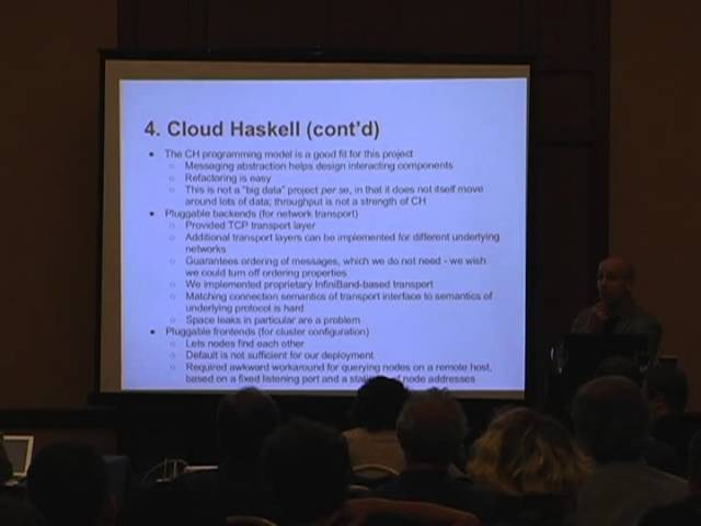 CUFP 2013: Jeff Epstein: Building scalable, high-availability distributed systems in Haskell