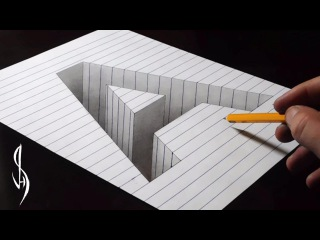 Drawing A Hole in Line Paper - 3D Trick Art
