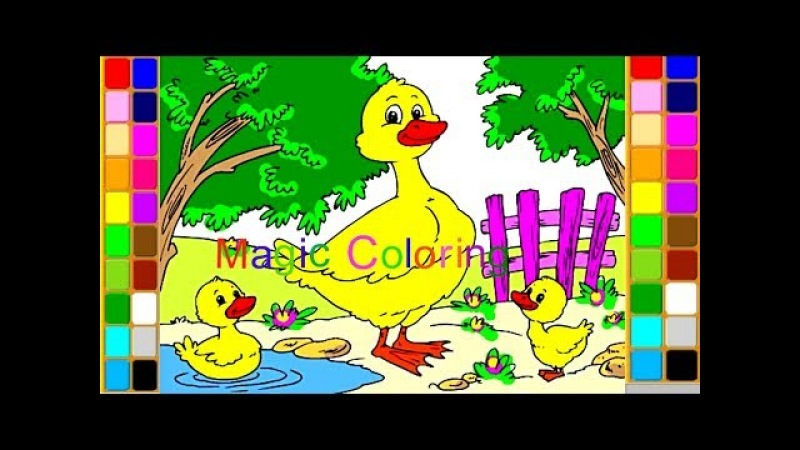 Drawing a Duck and Ducklings for Kids Sounds of Farm Animals Coloring Pages