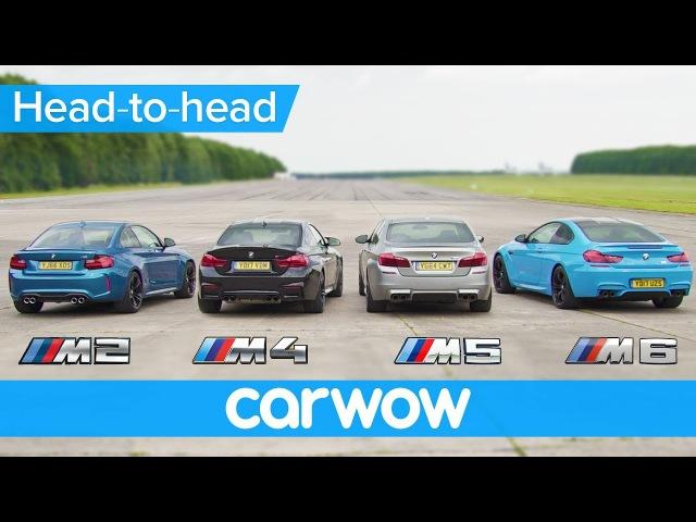 BMW M5 v M4 v M2 v M6 DRAG & ROLLING RACE   Head-to-Head