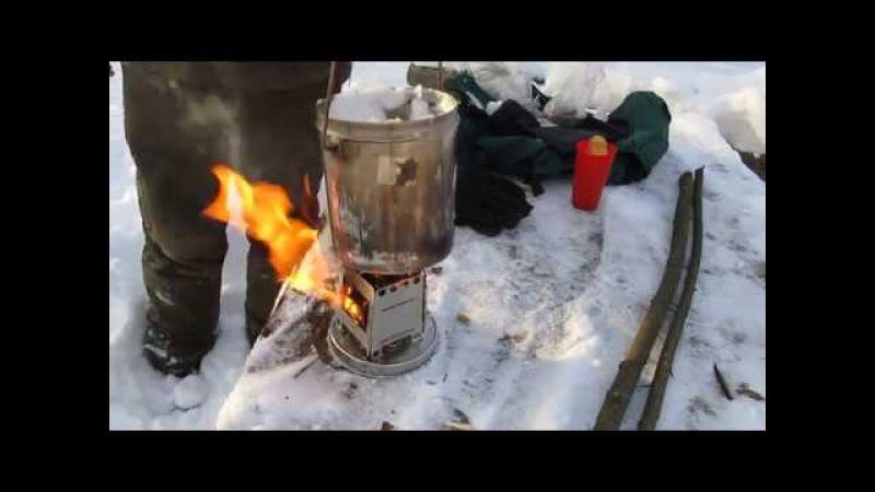 Печь щепочница и Огромный котёл снега.