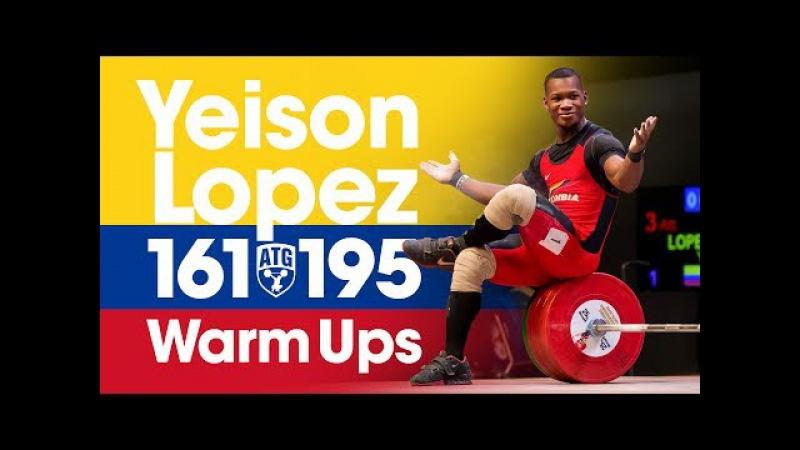 Yeison Lopez (77kg, 18 y/o) Full Warm Ups for 161kg Snatch 195kg Clean Jerk 2017 Junior Worlds