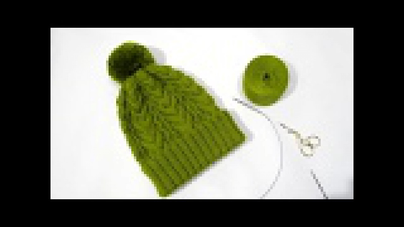 Оливковая шапка спицами. Теплая шапка с отворотом.