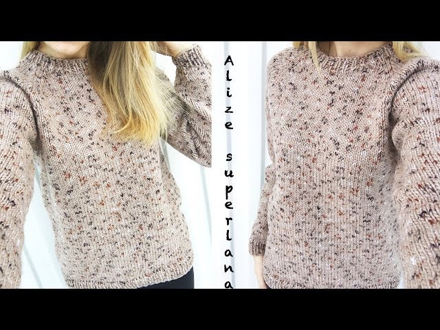Мини МК Простой свитер регланом снизу Вязание спицами Обзор Alize SuperLana Midi Mosaic