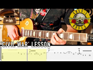 'Civil War' by GNR - Main Guitar Solo - Lesson with TABS