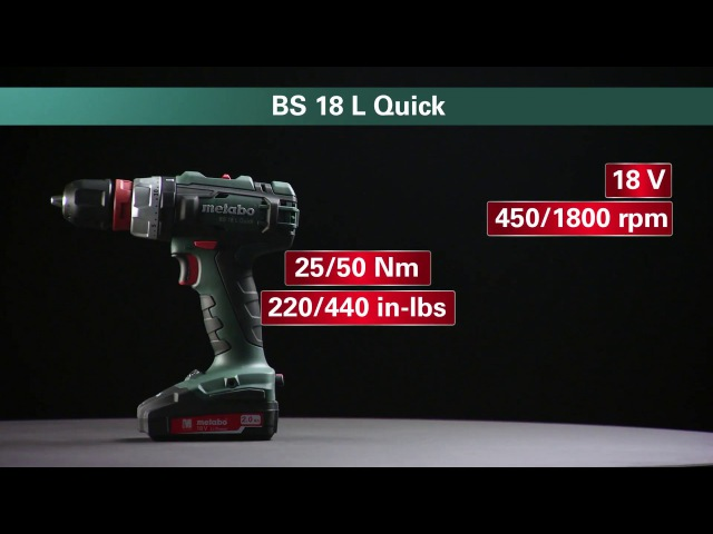 Metabo Akku-Bohrschrauber Cordless Drill Screwdriver BS 18 L Quick