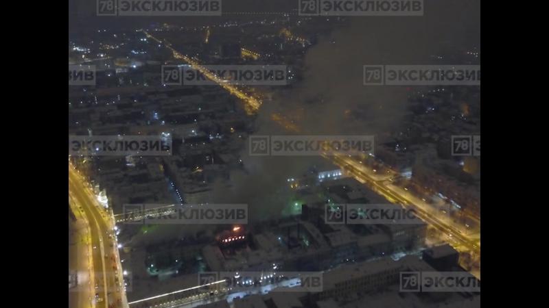 Пожар в Морском корпусе Петра Великого с квадрокоптера