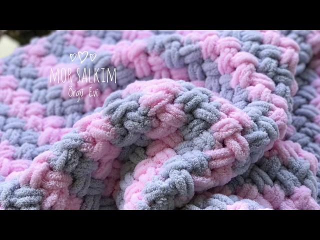 Alize Puffy iki renk ve ip ekleme nasıl yapılır bebek battaniyesi-baştan sona anlatım
