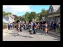 Braemar Gathering 2017 - Massed Pipe Bands Bands Parade through village to the highland games in 4K