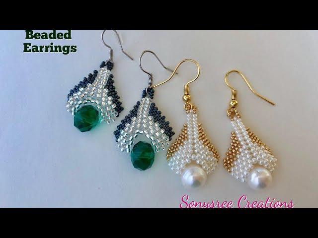 Beaded drop Earrings (Peyote and herringbone stitch) 💞