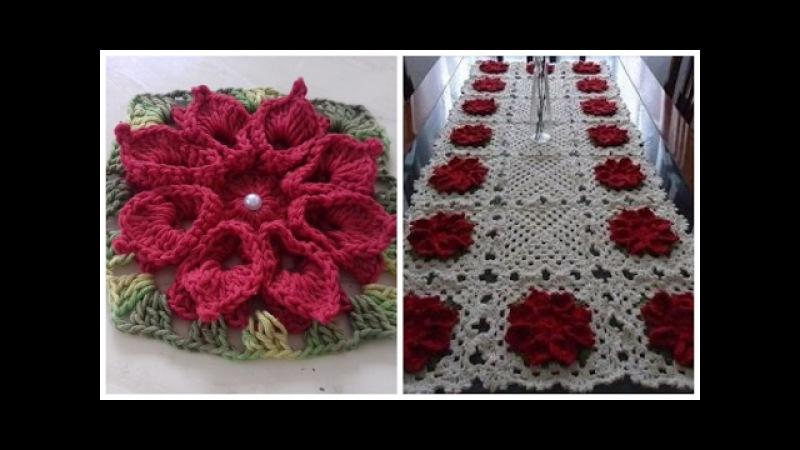 Flores Vermelhas em Crochê Para Serem Aplicadas no Caminho de Mesa em Crochê Cristina Coelho Alves