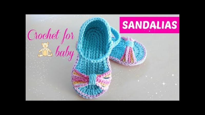 Sandalias crochet para bebe paso a paso 6 a 9 meses