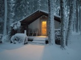 THE TENT. First Snowfall Of The Year. 8-10 inches on the ground. Clearing trees.
