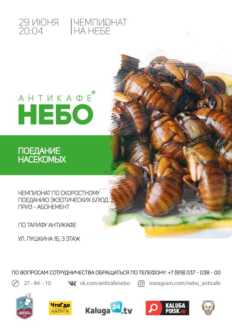 Афиша Калуга Турнир по поеданию насекомых / НЕБО / 29 июня