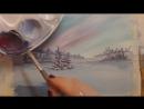 Рисуем Зимний пейзаж гуашью mp4