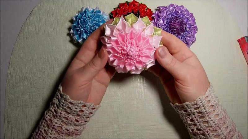 Канзаши, как сделать красивые цветы из лент, лепесток завиток, МК