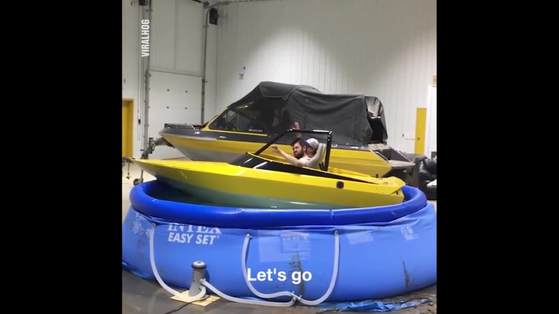 Drunk Guys Drive Speeboat In Pool