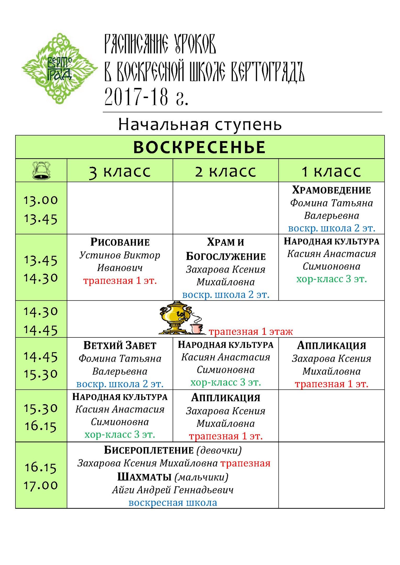 Расписание уроков в младших классах воскресной школы
