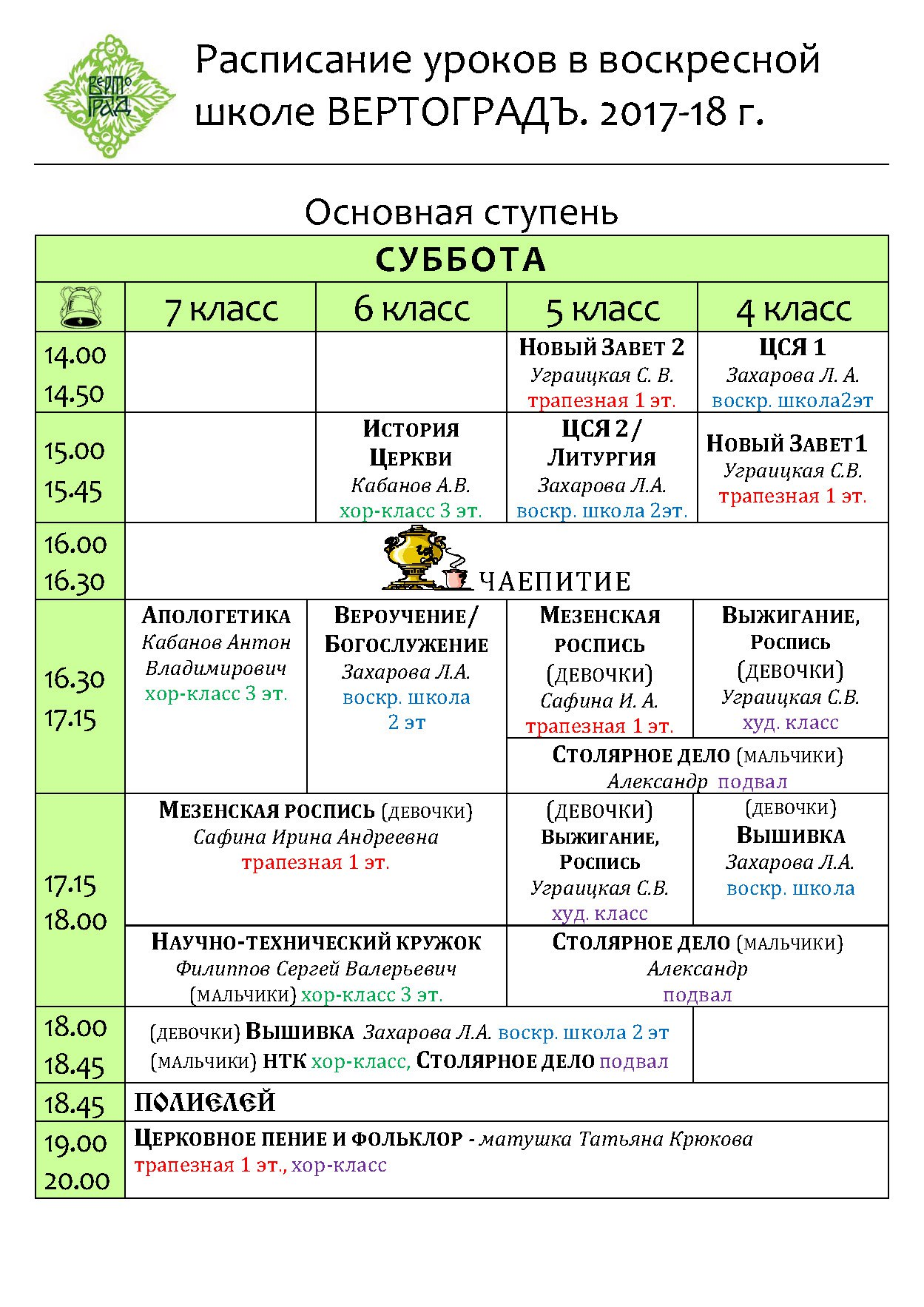 Расписание уроков в старших классах воскресной школы