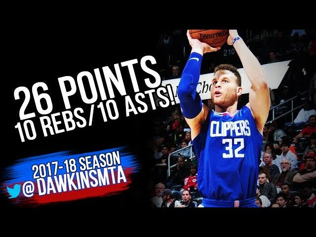 Blake Griffin Triple-Double 2017.11.22 at Hawks - 26 Pts, 10 Rebs, 10 Assists!