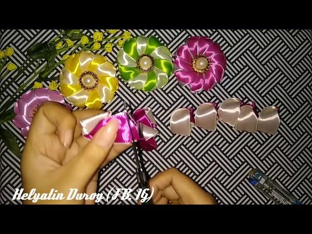 DIY- Tutorial Bros dari pita    satin ribbon flower tutorial    Satin Ribbon    Satin Ribbon Flower