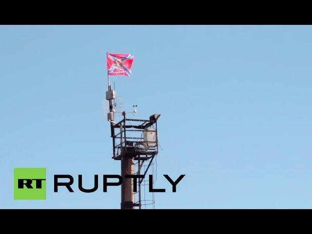 Ukraine Flag of Novorossiya flies high in Debaltsevo