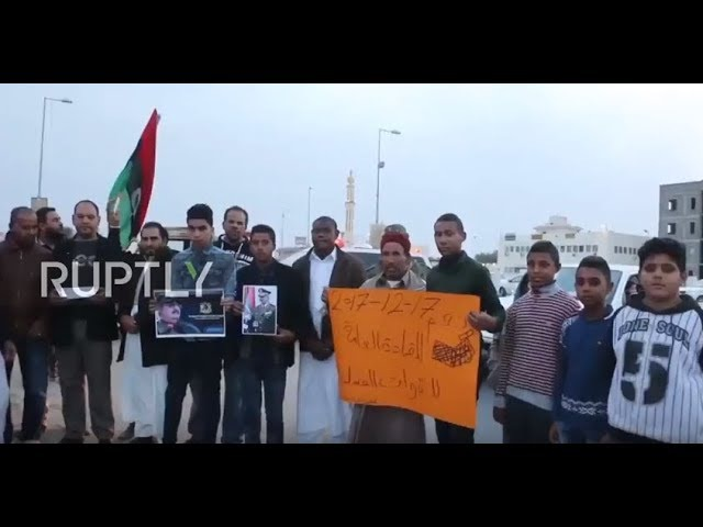 Libya Protesters in Tripoli demand army chief Haftar become president