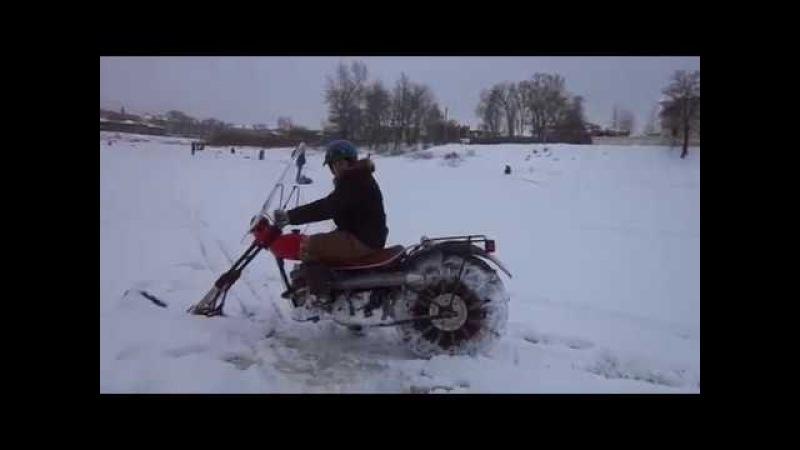 Снегоход-мотоцикл одноколейный из Минска своими руками