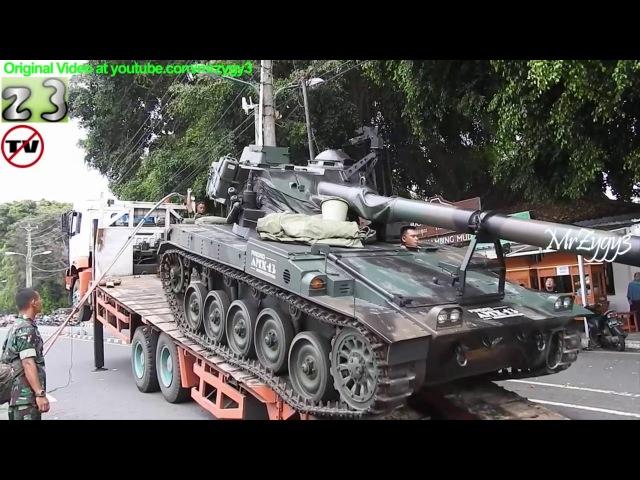 Self Loader Truck Transporting AMX 13 Modernization Battle Tank TNI AD By Pindad