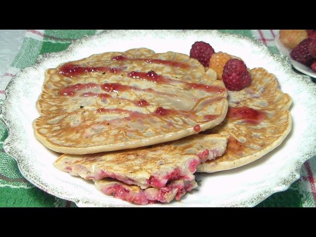 Блины на молоке с малиной (ягодами) и овсяными хлопьями - Марина Перепелицына