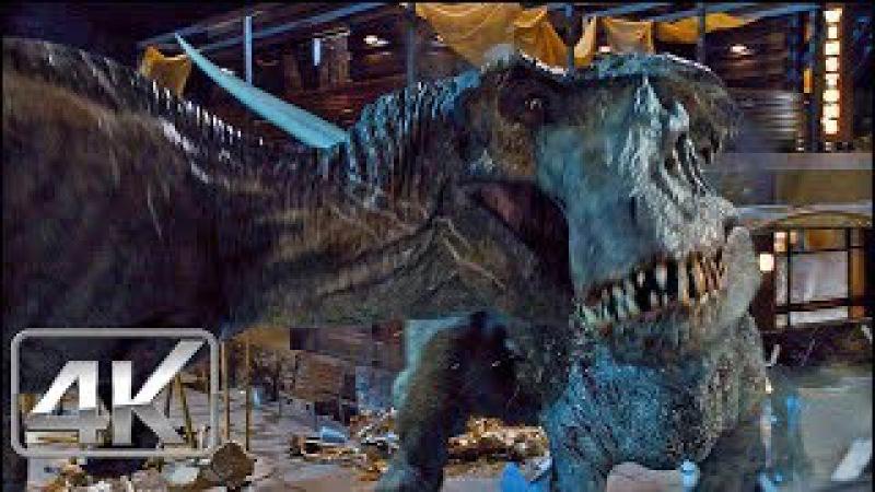 T-Rex Vs Indominus Rex - LATINO (4K-HD) | Jurassic World (2015) |