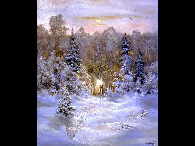 Картина маслом Зимний пейзаж пишет художник Иван Минеев