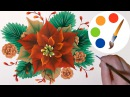 ❄Christmas decoration idea❄, How to paint Poinsettia, irishkalia