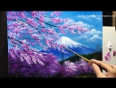 The cherry blossoms in the Mt. Fuji Acrylic Painting