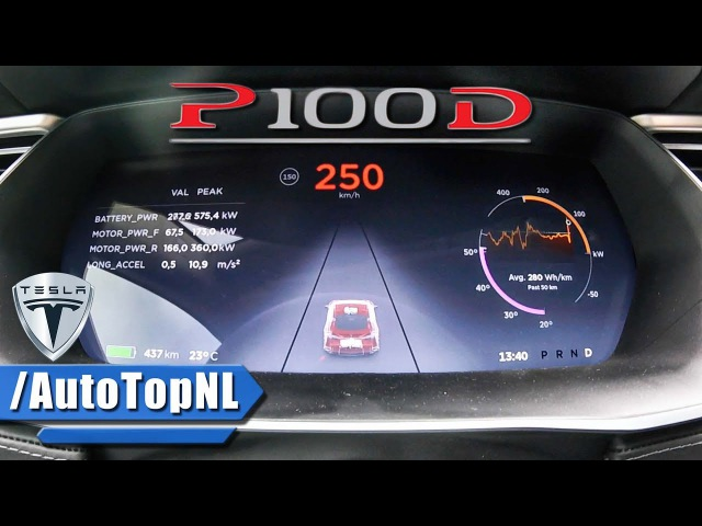 Tesla Model S P100D LUDICROUS ACCELERATION TOP SPEED 0-250 km/h by AutoTopNL