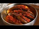 North Korean style spicy stuffed steamed eggplant (Gochujang gaji-jjim: 고추장 가지찜)