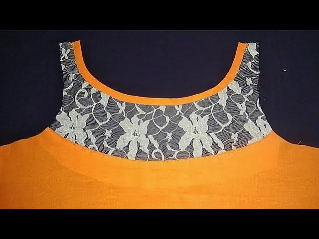 Transi Neck Design with boat neck for Kurti/Cutting and Stitching in Hindi / Net yoke Kurti